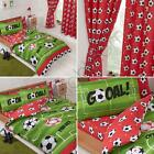FOOTBALL RED CURTAINS / FITTED SHEET / DUVET COVER SET - JUNIOR SINGLE DOUBLE