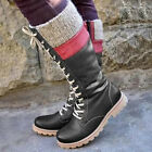 Womens Mid Calf Lace Up Riding Boots Ladies Military Army Combat Round Toe Shoes