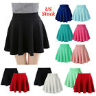 Women A-Line Pleated Stretchy Flared Skater Skirt Xmas Cosplay Party Mini Dress