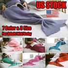 US Adult Kid Mermaid Tail Knitted Hand Crocheted Soft Warm Sleeping Wrap Blanket image