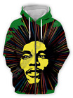 Reggae Bob Marley 3D Print Zipper Hoodies Sweatshirt Jacket Mens Sports Coat Top