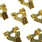 LARGE BRASS PLATED DOUBLE PICTURE HOOKS HANG PICTURES PRINTS FRAMES WALL HOOK