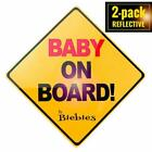 2 Pack Biebies Baby On Board Window Safety Suction Cup Magnet Decal Car Sign