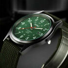 Round Dial Men's Canvas Band Military Wrist Watch Quartz Sports Analog Calendar image