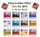 FIMO Leather Effect 57g Block Polymer Clay 12 Colours Modelling Jewellery Craft image