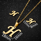 26 Initial Letter Necklace Gold Silver Chain Stainless Steel Statement Earrings
