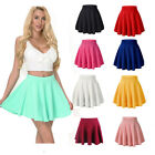 Women Girls Skater Skirt Pleated Flared A Line Circle Elastic Stretch Waist USA