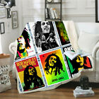 Reggae Singer Bob Marley R3D Sherpa Blanket Sofa Couch Quilt Cover throw blanket