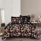 Floral Black Soft Premium Down Alternative Comforter Set Pillow Shams US Q-K Bed image