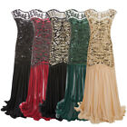 Women Vintage 1920s Long Gown Gatsby Party Beaded Sequin Sleeveless Maxi Dress