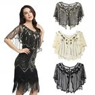 Women 1920s Sequins Shawl Wraps Vintage Evening Cape Bolero Flapper Cover Up UK