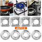40 Aluminum Foil Gas Stove Top Protector Burner Liner Pad Cover Kitchen Cleaning