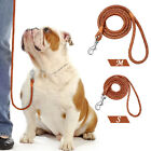 Soft Braided Leather Dog Walking Lead Leashes Pet Rolled Rope Small Medium 4ft