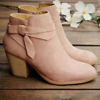 Womens Ankle Boots Ladies Chelsea Block Chunky Mid Heel Zip Up Shoes Size 3-6.5