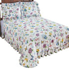 Butterfly Joy Floral Lightweight PlissDecor Summer Cotton Ruffle Bedspread image