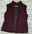 Weatherproof Mahogany Quilted Vest Fur Lined Womens S M L XL