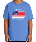 Patriotic US Flag Kid's T-shirt New Bleed Red White Blue Tee for Youth - 1820C