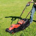 """13"""" Garden Electric Push Lawn Corded Mower Cutting Grass with Grass Bag Tool US"""