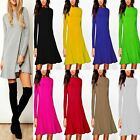 Women's Ladies Plain Long Sleeve A Line Flared Swing Skater Dress
