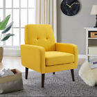 Arm Chair Accent Single Sofa Linen Fabric Upholstered Living Room Cushion Sofa