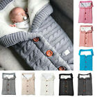 Newborn Baby Boy Girl Blanket Knit Crochet Winter Warm Swaddle Wrap Sleeping Bag
