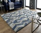 EXTRA LARGE BLUE GREY THICK 100% WOOL MODA ASHER 3D HEAVYWEIGHT RUG,  RUNNER