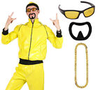 MENS 90S RAPPER COSTUME YELLOW TRACKSUIT GANGSTER NOVELTY ADULTS FANCY DRESS