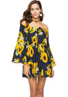 Sexy Womens Boho Maxi Off Shoulder Flare Sleeve Floral Printed Strapless Dress