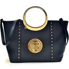 Dasein Studded Zip Satchel Large Faux Leather Handbags with Shoulder Strap image