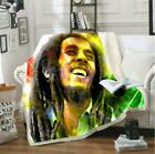Reggae Singer Bob Marley 3D Sherpa Blanket Sofa Couch Quilt Cover throw blanket