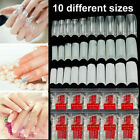 UK 500x Artificial French False Acrylic Nail Art Tips White Clear Natural UV Gel