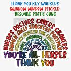 Rainbow Window Sticker 20% Nhs Charity Key Worker Reusable Static Cling Handclap