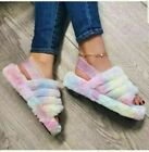 Women Girls Fluffy Fur Slip On Sliders Slippers Ladies Summer Flat Sandals Shoes