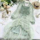 Women Lace Hollow Out Puff Sleeve Floral Dress Mesh Party Fairy Midi Gothic Wear