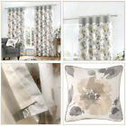 Natural Eyelet Top Curtains Floral Watercolour Print Lined Flower Curtains Pair
