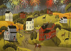 Print of folk art painting 4th fourth of july CELEBRATION fireworks Americana DC