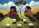 Print of folk art painting GRAZY DAY sheep farm country primitive whimsical DC