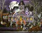 Print of folk art painting Halloween Monster Mash Bash haunted house witch DC
