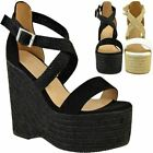 Womens High Wedge Platform Sandals Summer Espadrilles Strappy Party Wedding Size