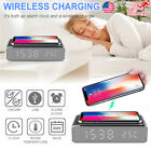 Electric Led Alarm Clock With Phone Wireless Charger Desktop Digital Thermo HOT!