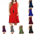 Women's Casual Swing Simple T-Shirt Loose Dress with Pockets Sleeveless Solid