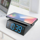 Universal Phone Qi Wireless Charger Stand Pad w/Alarm Clock Phone Holder Bracket