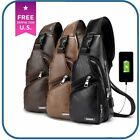 Men's Chest Bag Shoulder Sling Pack Usb Charging Port Leather Crossbody Handbag