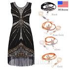 Vintage 1920s Flapper Dress Great Gatsby Sequin Art Deco Tassels Cocktai Dresses