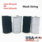 200 Yards Braided Diy Face Mask Elastic Band Cord Knit 3/5mm Stretch Sewing 1/8