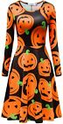 LYXIOF Womens Halloween Dress Pumpkin Print Party Costume Casual A-line Dress