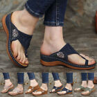 Womens Orthopedic Sandals Embroidery Mules Summer Flip Flops Slippers Flat Shoes