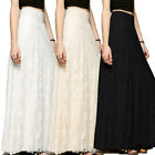 Women's Lace Double Layer Straight Pleated Long Maxi Skirt Elastic Waist Skirt