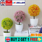 Artificial Simulation Bonsai Fake Flower In Pot Ball Tree Plant Table Home Decor