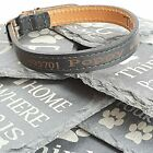 Personalised Custom Black Leather Dog Collar Puppy decide your own wording